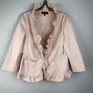 Talbots Blush Pink Ruffle Blazer 8 Cotton Stretch